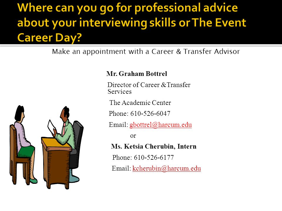 Make an appointment with a Career & Transfer Advisor Mr. Graham Bottrel Director of Career &Transfer Services The Academic Center Phone: 610-526-6047