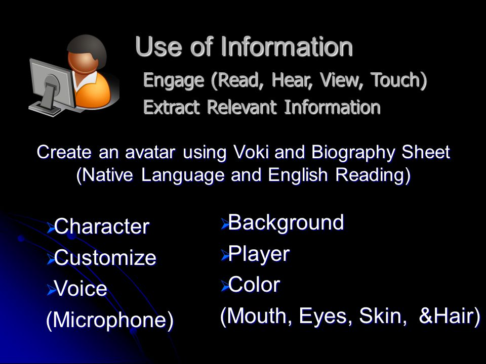 Synthesis Organize from Multiple Sources Present the Information  Completed Biography Sheet  Completed Voki Avatar from Biography  Emailed Voki Avatar to Teacher  Teacher will Post Avatars on Teacher Website and Share with Class