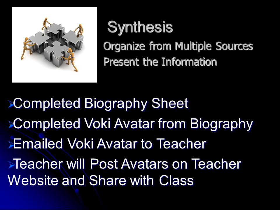 Synthesis Organize from Multiple Sources Present the Information  Completed Biography Sheet  Completed Voki Avatar from Biography  Emailed Voki Avatar to Teacher  Teacher will Post Avatars on Teacher Website and Share with Class