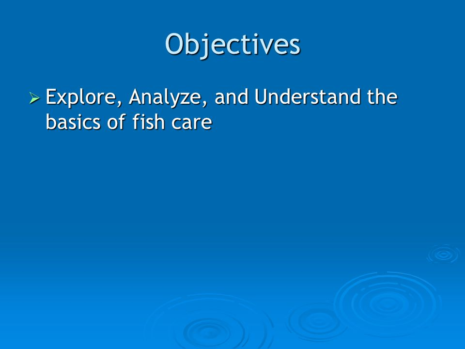 Objectives  Explore, Analyze, and Understand the basics of fish care