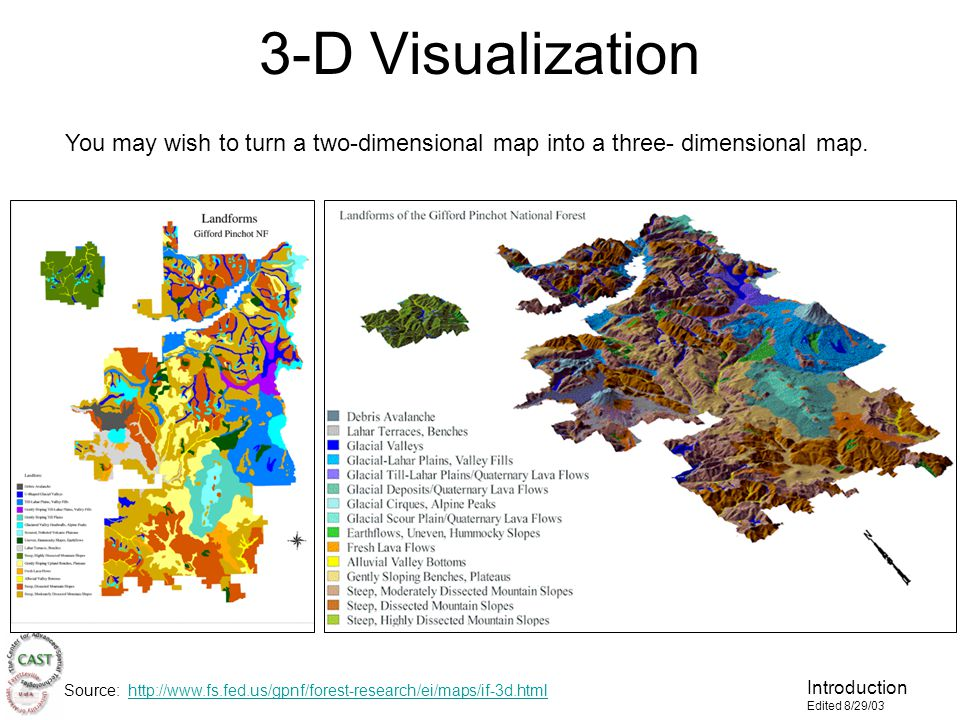 Introduction Edited 8/29/03 3-D Visualization You may wish to turn a two-dimensional map into a three- dimensional map.