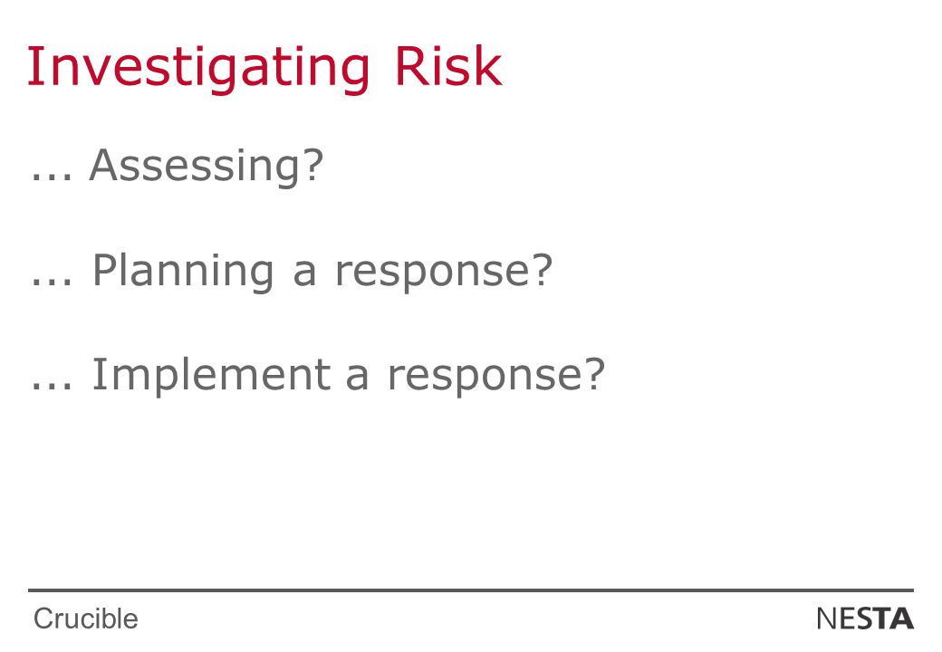 Crucible Investigating Risk... Assessing ... Planning a response ... Implement a response