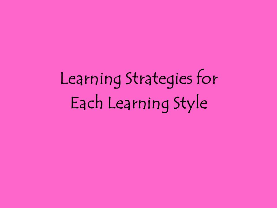 Learning Strategies for Each Learning Style