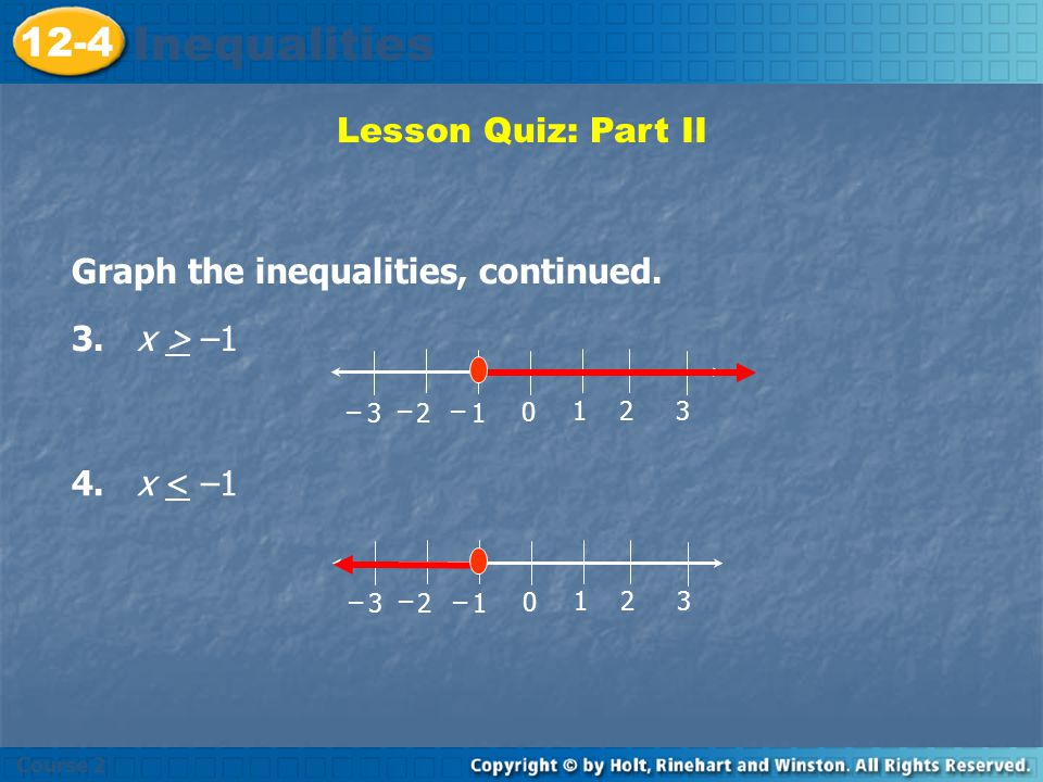 Lesson Quiz: Part II Graph the inequalities on your own paper. 1. x > –1 Insert Lesson Title Here 0 º 123 123 – – – 2. x < –1 0 º 123 123 – – – Course