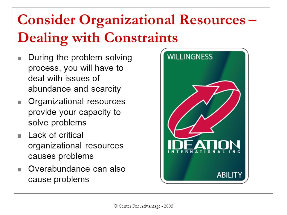 © Center For Advantage - 2005 Consider Organizational Resources – Dealing with Constraints During the problem solving process, you will have to deal w