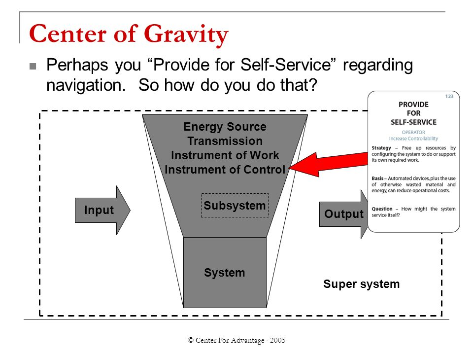 "© Center For Advantage - 2005 Center of Gravity Perhaps you ""Provide for Self-Service"" regarding navigation. So how do you do that? Input Output Syste"
