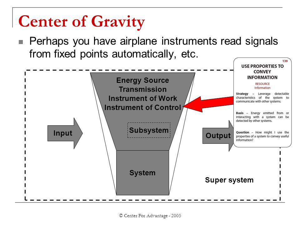 © Center For Advantage - 2005 Center of Gravity Perhaps you have airplane instruments read signals from fixed points automatically, etc.
