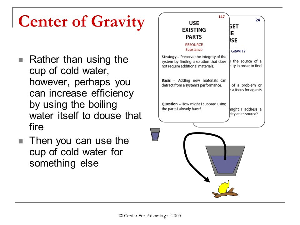 © Center For Advantage - 2005 Center of Gravity Rather than using the cup of cold water, however, perhaps you can increase efficiency by using the boiling water itself to douse that fire Then you can use the cup of cold water for something else