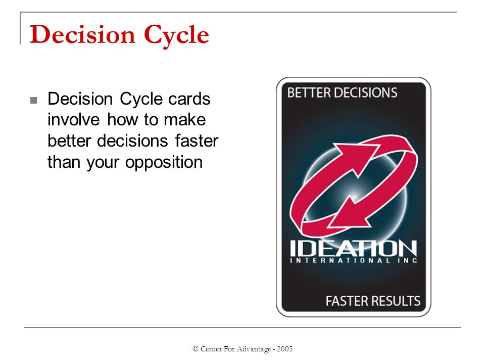 © Center For Advantage - 2005 Decision Cycle Decision Cycle cards involve how to make better decisions faster than your opposition