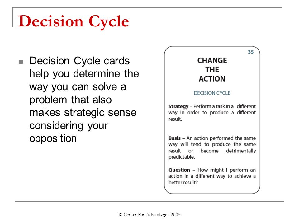 © Center For Advantage - 2005 Decision Cycle Decision Cycle cards help you determine the way you can solve a problem that also makes strategic sense c