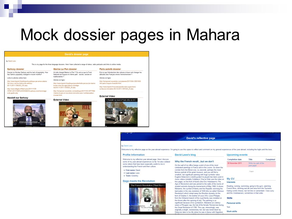 Mock dossier pages in Mahara