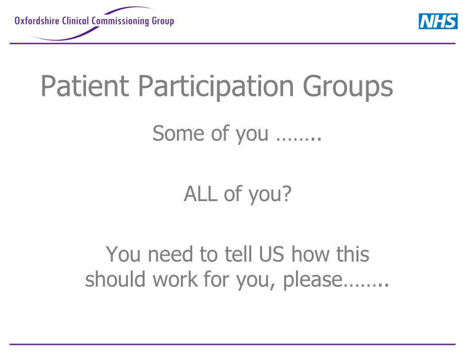 Patient Participation Groups Some of you …….. ALL of you.