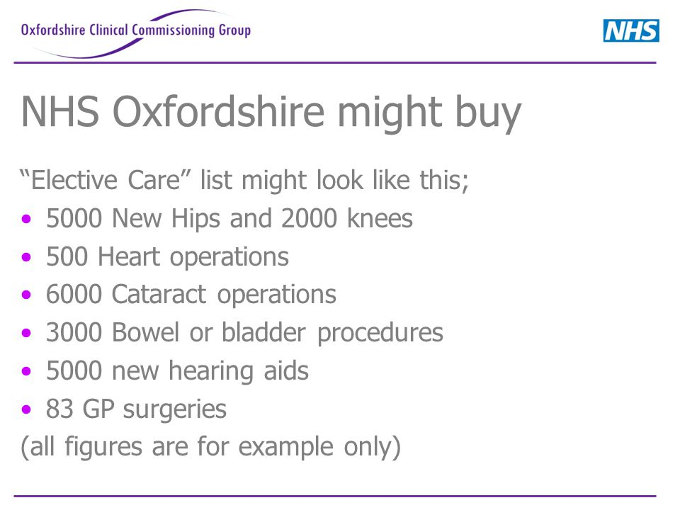 """NHS Oxfordshire might buy """"Elective Care"""" list might look like this; 5000 New Hips and 2000 knees 500 Heart operations 6000 Cataract operations 3000 B"""