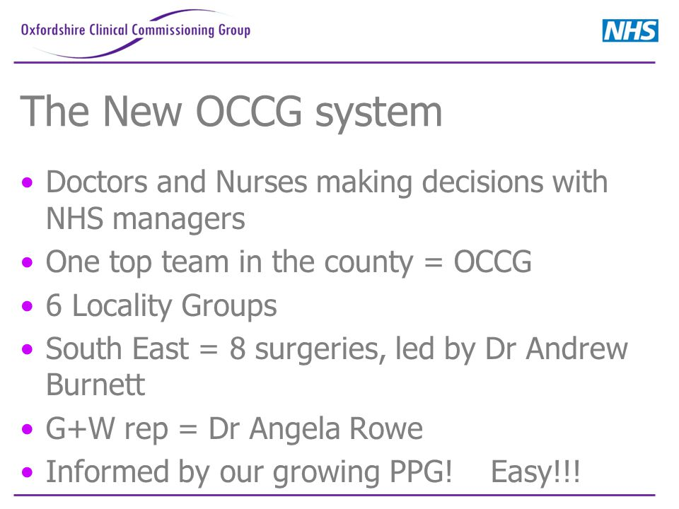 The New OCCG system Doctors and Nurses making decisions with NHS managers One top team in the county = OCCG 6 Locality Groups South East = 8 surgeries