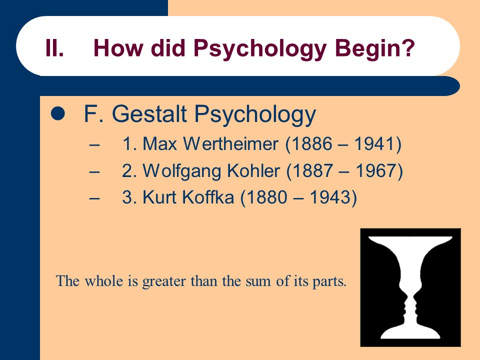 II.How did Psychology Begin? F. Gestalt Psychology –1. Max Wertheimer (1886 – 1941) –2. Wolfgang Kohler (1887 – 1967) –3. Kurt Koffka (1880 – 1943) Th