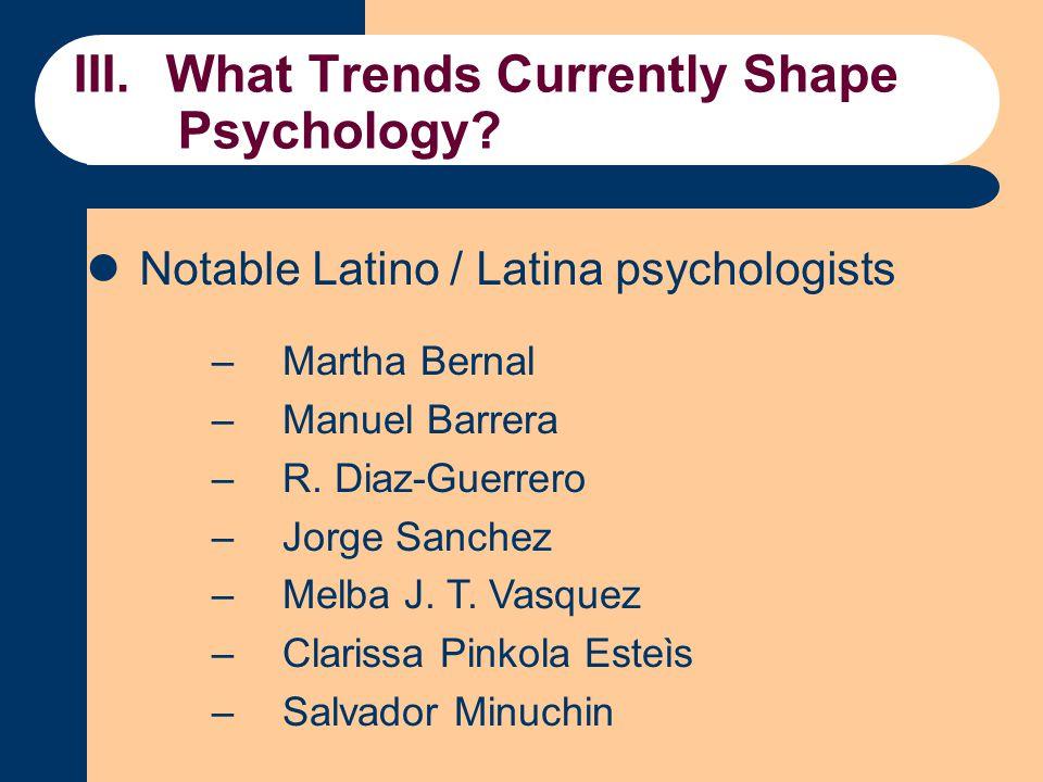 Notable Latino / Latina psychologists –Martha Bernal –Manuel Barrera –R.