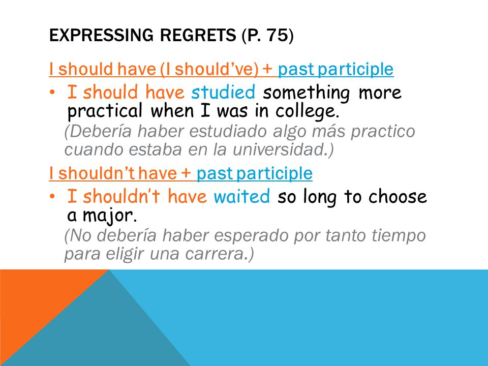 EXPRESSING REGRETS (P.