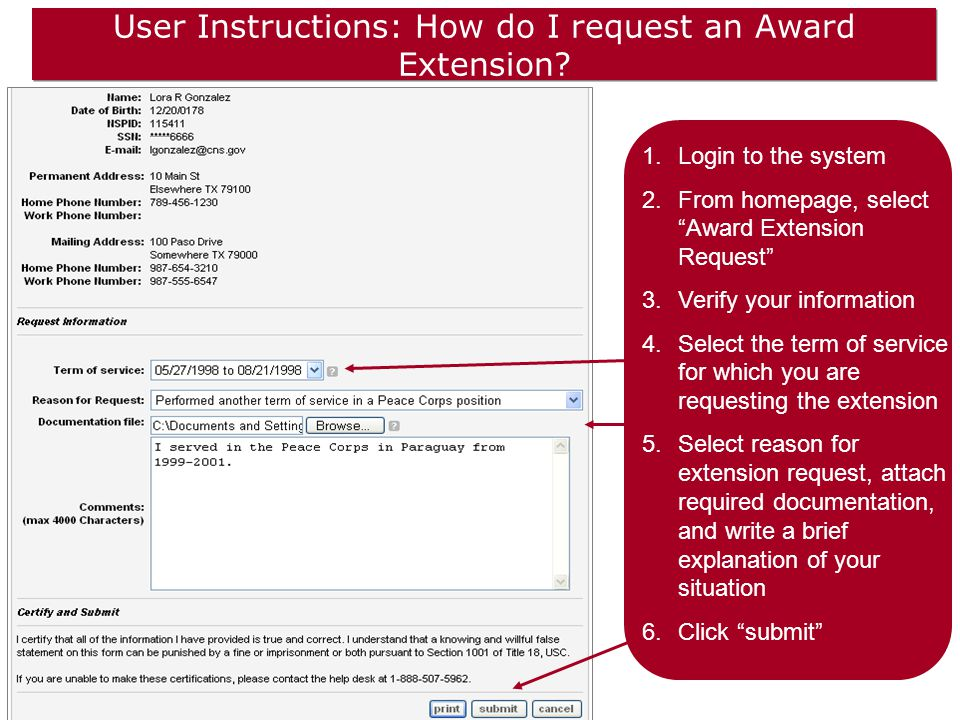 User Instructions: How do I request an Award Extension.