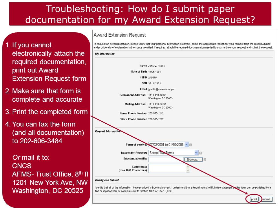 Troubleshooting: How do I submit paper documentation for my Award Extension Request.