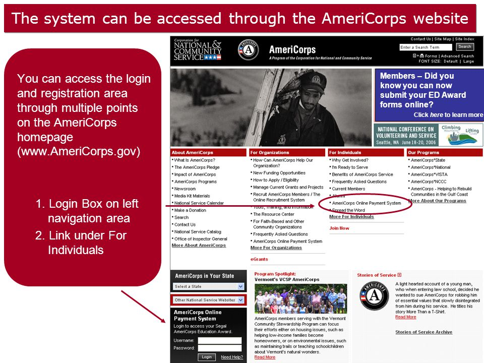 The system can be accessed through the AmeriCorps website You can access the login and registration area through multiple points on the AmeriCorps homepage (www.AmeriCorps.gov) 1.
