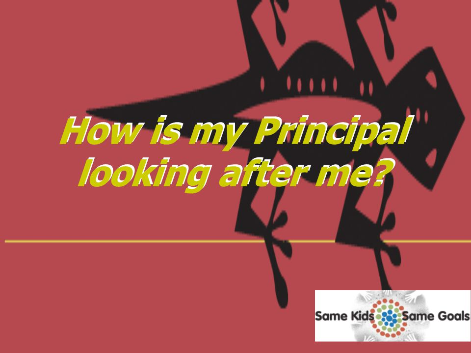 How is my Principal looking after me?