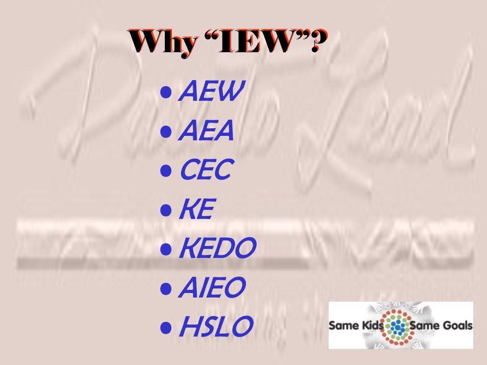 Why IEW ? AEW AEA CEC KE KEDO AIEO HSLO