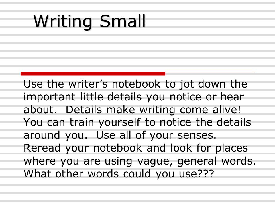Writing Small Use the writer's notebook to jot down the important little details you notice or hear about.