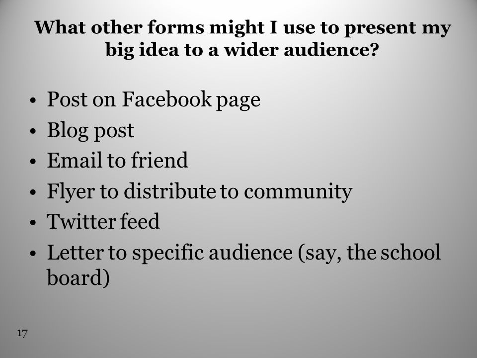 What other forms might I use to present my big idea to a wider audience? Post on Facebook page Blog post Email to friend Flyer to distribute to commun