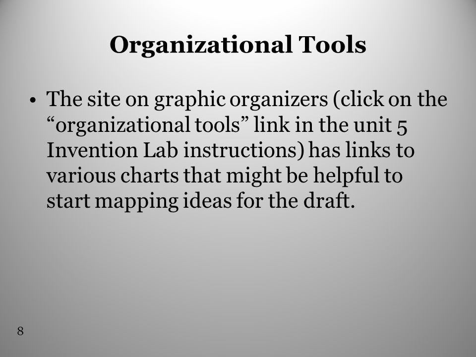 Organizational Tools The site on graphic organizers (click on the organizational tools link in the unit 5 Invention Lab instructions) has links to various charts that might be helpful to start mapping ideas for the draft.