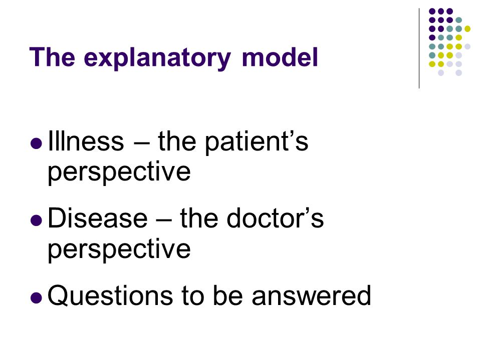 Illness – the patient's perspective Disease – the doctor's perspective Questions to be answered