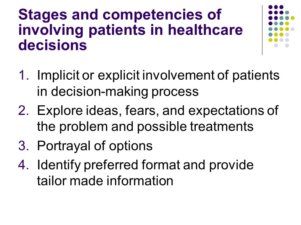 Stages and competencies of involving patients in healthcare decisions 1.Implicit or explicit involvement of patients in decision-making process 2.Explore ideas, fears, and expectations of the problem and possible treatments 3.Portrayal of options 4.Identify preferred format and provide tailor made information