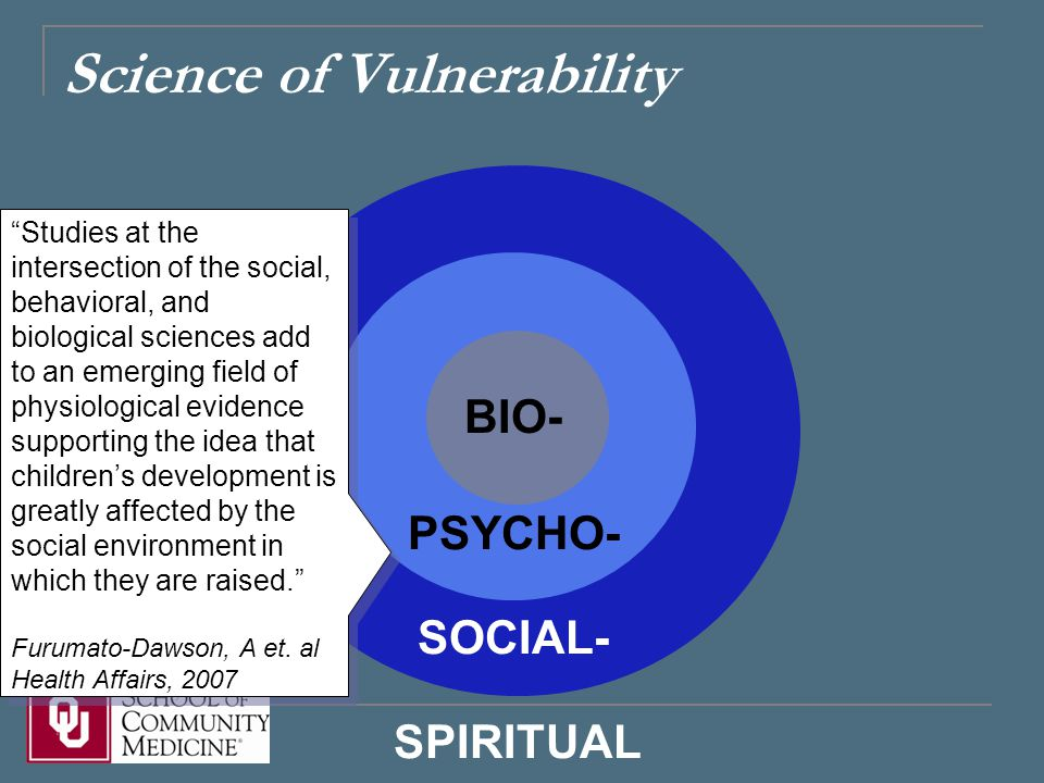 Science of Vulnerability BIO- PSYCHO- SOCIAL- SPIRITUAL Studies at the intersection of the social, behavioral, and biological sciences add to an emerging field of physiological evidence supporting the idea that children's development is greatly affected by the social environment in which they are raised. Furumato-Dawson, A et.