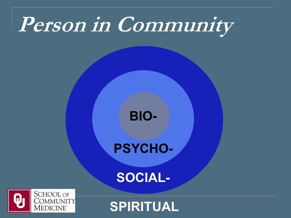 Person in Community BIO- PSYCHO- SOCIAL- SPIRITUAL