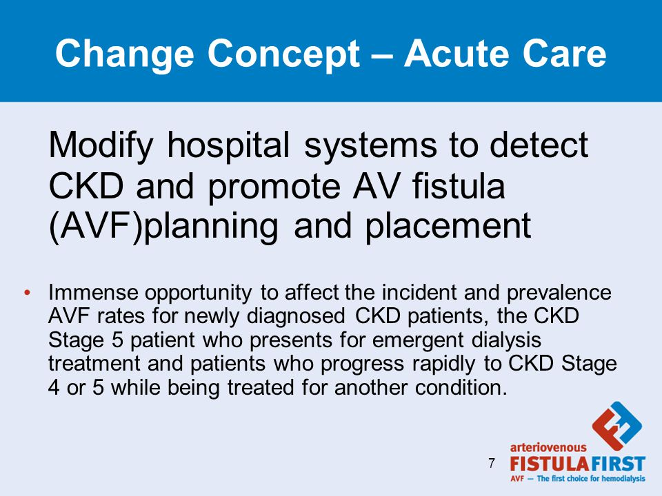 Change Concept – Acute Care Modify hospital systems to detect CKD and promote AV fistula (AVF)planning and placement Immense opportunity to affect the incident and prevalence AVF rates for newly diagnosed CKD patients, the CKD Stage 5 patient who presents for emergent dialysis treatment and patients who progress rapidly to CKD Stage 4 or 5 while being treated for another condition.