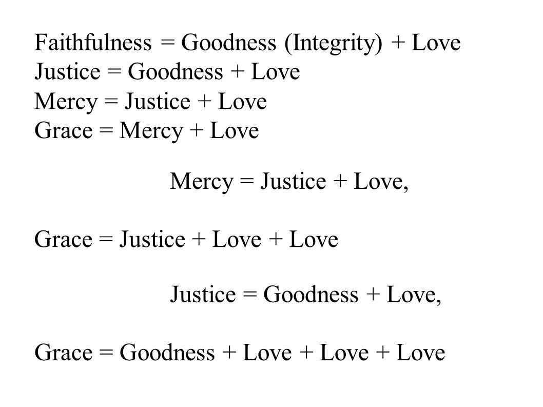 Faithfulness = Goodness (Integrity) + Love Grace = Mercy + Love Grace = Justice + Love + Love Mercy = Justice + Love, Justice = Goodness + Love, Grace = Goodness + Love + Love + Love Justice = Goodness + Love Mercy = Justice + Love