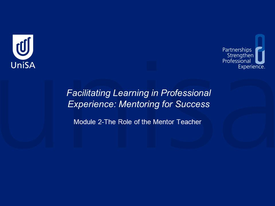 This module contains: An overview of the role of the Mentor Teacher Strategies to assist Mentor Teachers identify and evaluate the strengths of their practice and for their ongoing professional growth Please note that in the following part of the program for expediency the following titles will be abbreviated: Mentor Teachers - MTs Preservice Teachers - PSTs an introduction