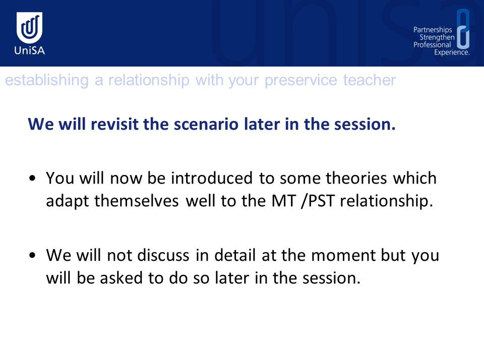 We will revisit the scenario later in the session.
