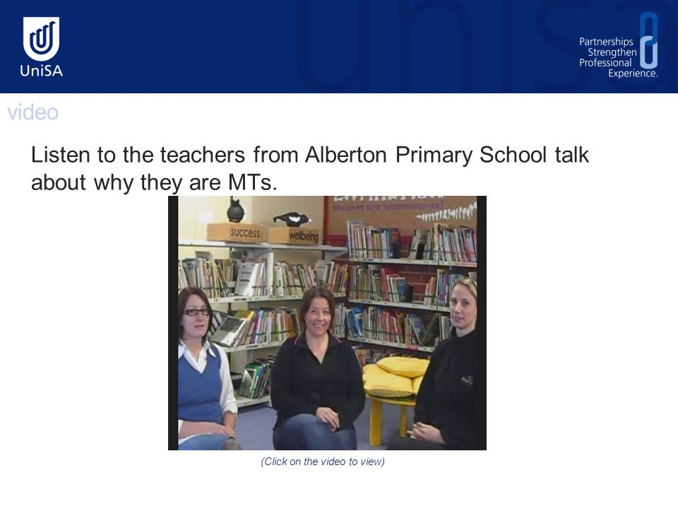 Listen to the teachers from Alberton Primary School talk about why they are MTs.
