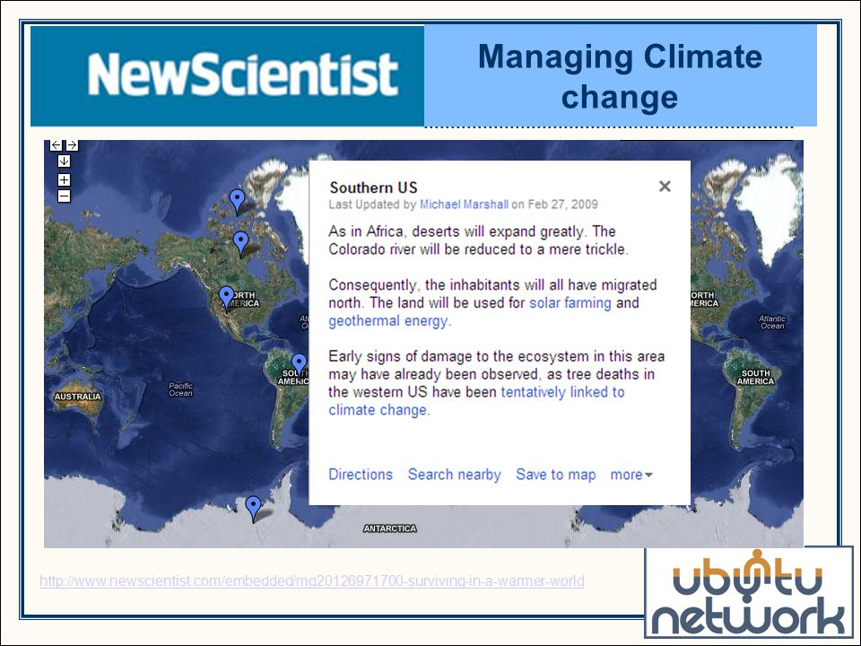 http://www.newscientist.com/embedded/mg20126971700-surviving-in-a-warmer-world Managing Climate change