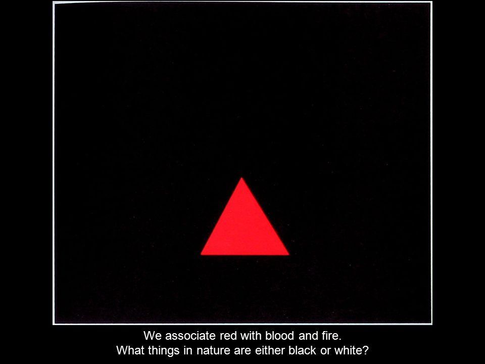 We associate red with blood and fire. What things in nature are either black or white?