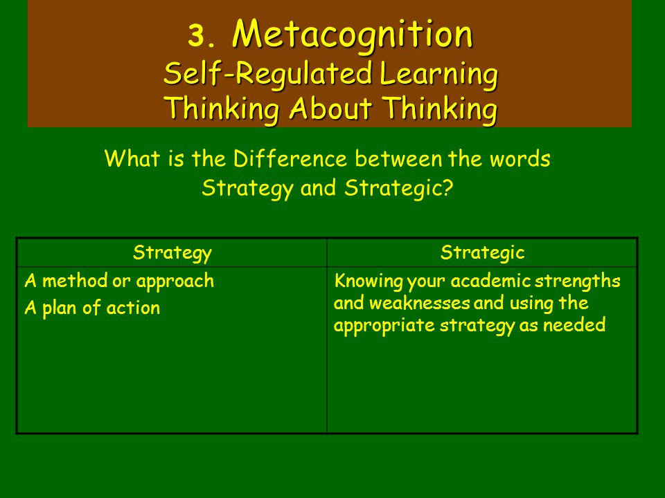 Metacognition Self-Regulated Learning Thinking About Thinking 3. Metacognition Self-Regulated Learning Thinking About Thinking What is the Difference