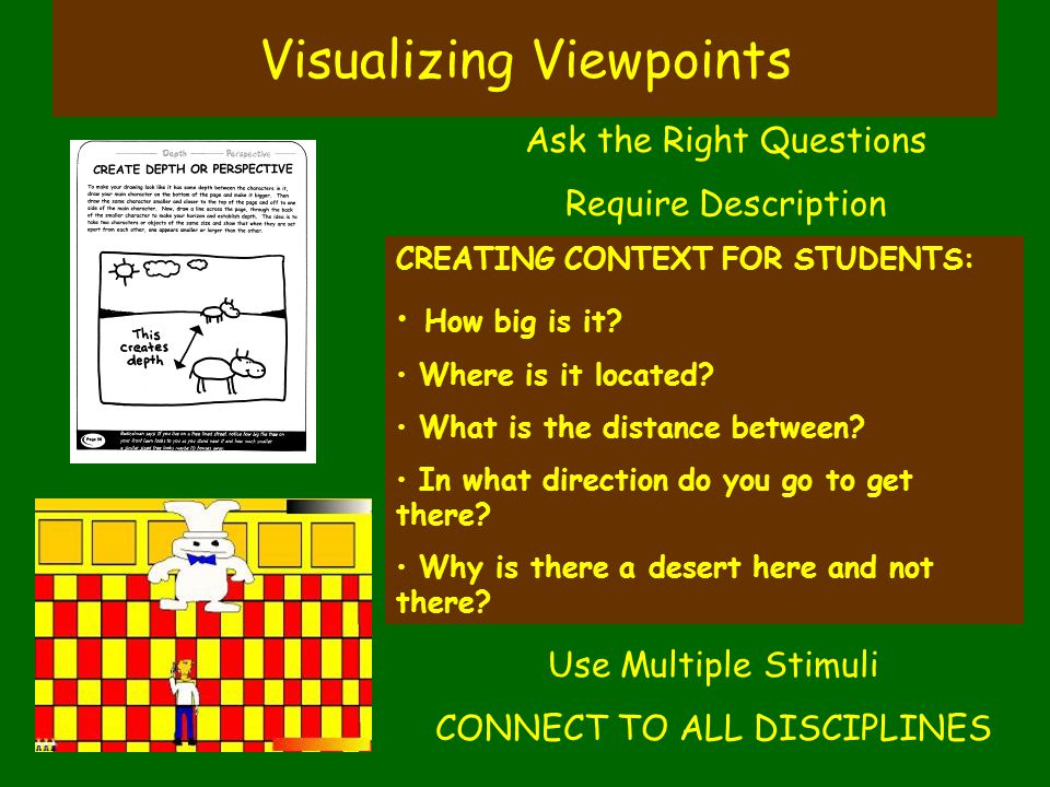 Visualizing Viewpoints CREATING CONTEXT FOR STUDENTS: How big is it? Where is it located? What is the distance between? In what direction do you go to