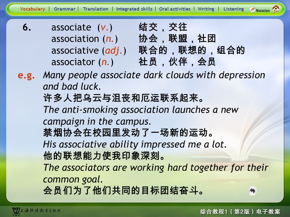 Consolidation Activities- Word derivation- respect 1 VocabularyTranslationIntegrated skillsOral activitiesWritingListening 5. overwhelm (v.) 压倒,淹没,受打击