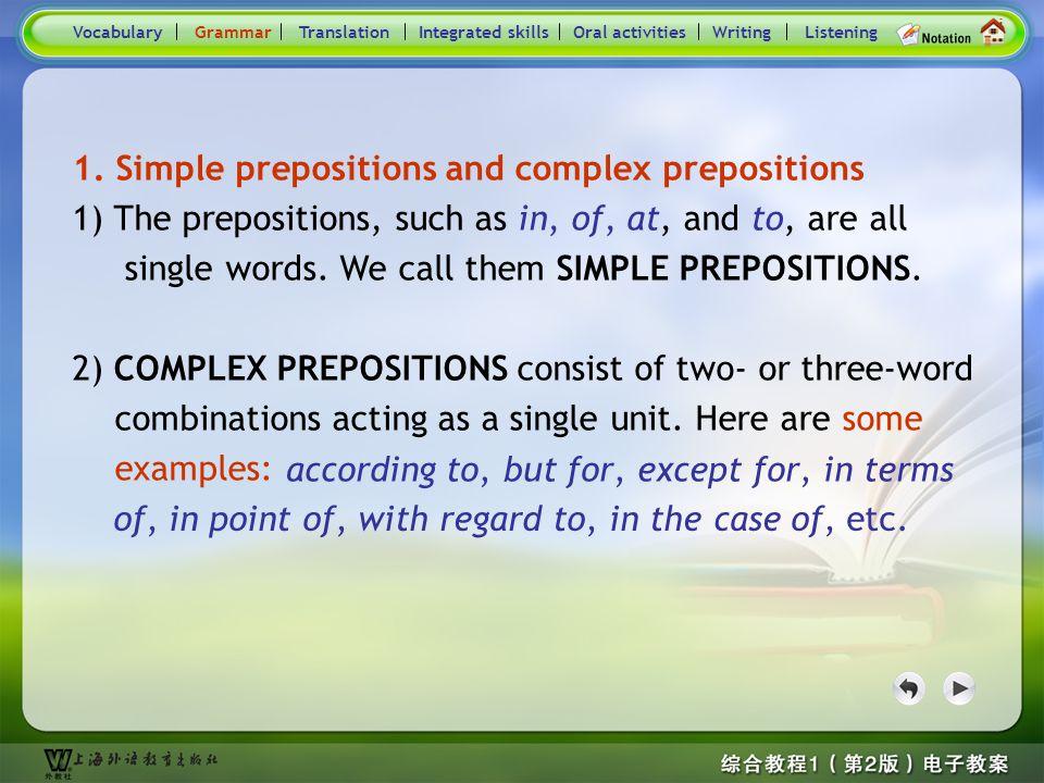 Consolidation Activities- Vocabulary main Simple prepositions and complex prepositions Conjunctions VocabularyGrammarTranslationIntegrated skillsOral activitiesWritingListening