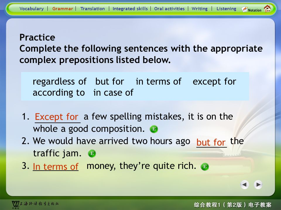 Consolidation Activities- Grammar1 1. Simple prepositions and complex prepositions 1) The prepositions, such as in, of, at, and to, are all single wor