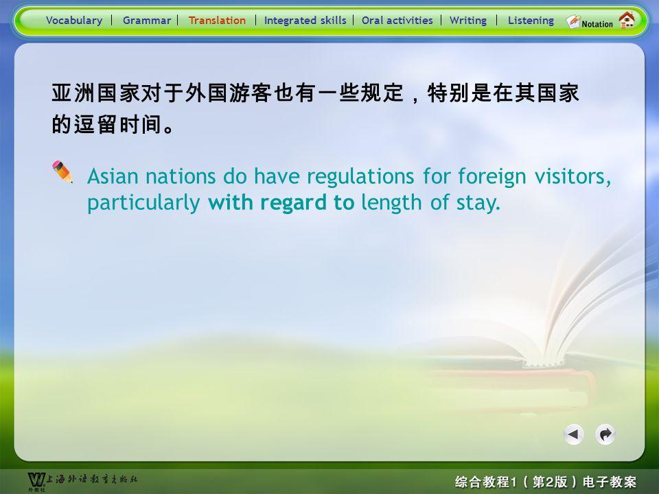 Consolidation Activities- Translation5 Practice : Translate the following sentences into English. 政府已采取了多项调控房价的措施。 由于我的专业是旅游管理,所以我想得到一份与旅游相关 的工作。 Voca