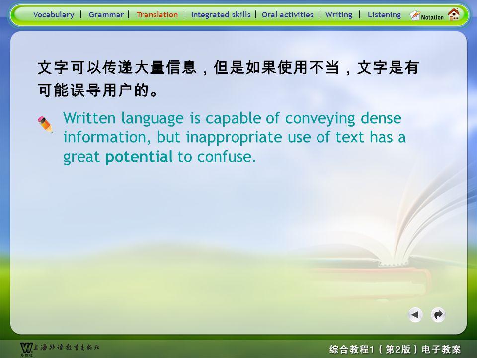 Consolidation Activities- Translation5 VocabularyTranslationIntegrated skillsOral activitiesWritingListeningGrammar Practice : Translate the following