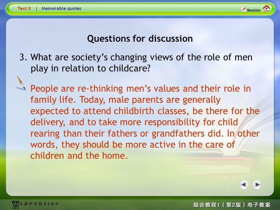 Questions for discussion Questions for discussion2 Many women decide to get jobs because of financial need or to achieve freedom from women's traditional roles of child rearing and housework.