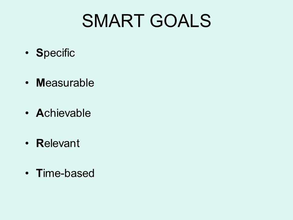 SMART GOALS Specific Measurable Achievable Relevant Time-based