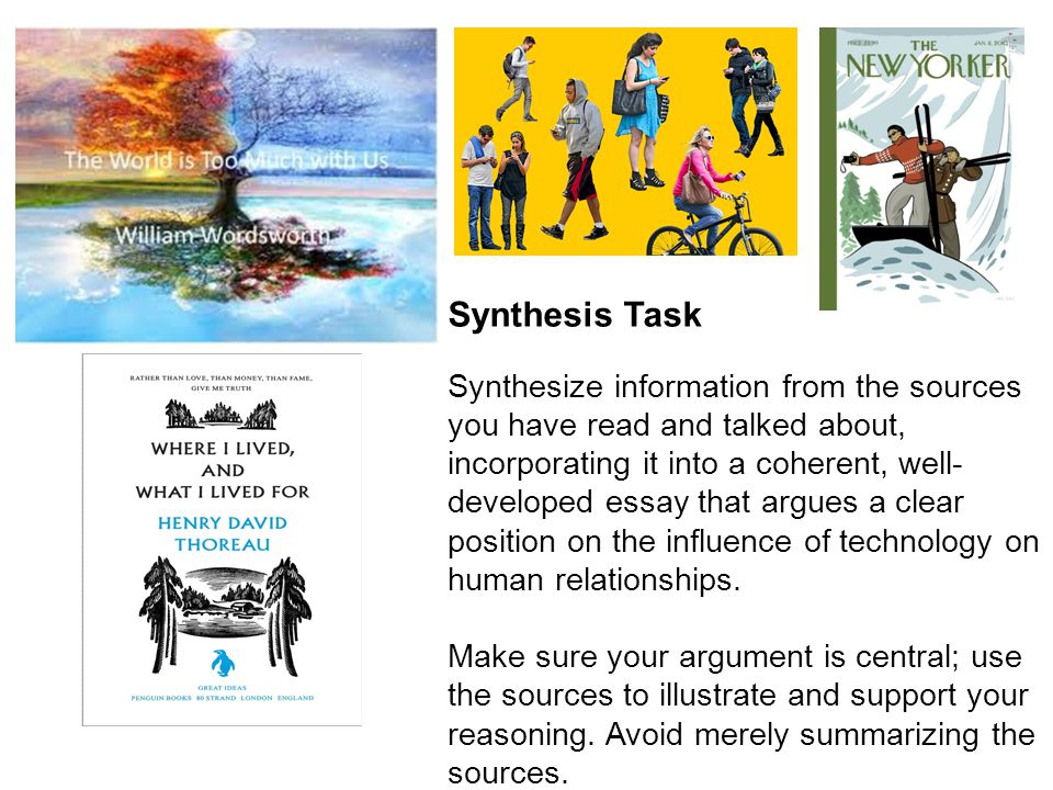 Synthesis Task Synthesize information from the sources you have read and talked about, incorporating it into a coherent, well- developed essay that argues a clear position on the influence of technology on human relationships.